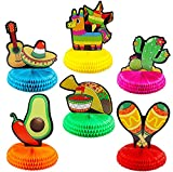 "JOYIN 6 PCs Cinco De Mayo Fiesta Honeycomb Table Centerpiece 8.5"" Party Decoration for Fun Fiesta Taco Party Supplies, Luau Event Photo Props, Mexican Theme for Carnivals Festivals, Dia De Muertos"