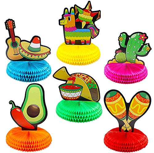 "JOYIN 6 PCs Cinco De Mayo Fiesta Honeycomb Table Centerpiece 8.5"" Party Decoration for Fun Fiesta Taco Party Supplies, Luau Event Photo Props, Mexican Theme for Carnivals Festivals, Dia De Muertos"