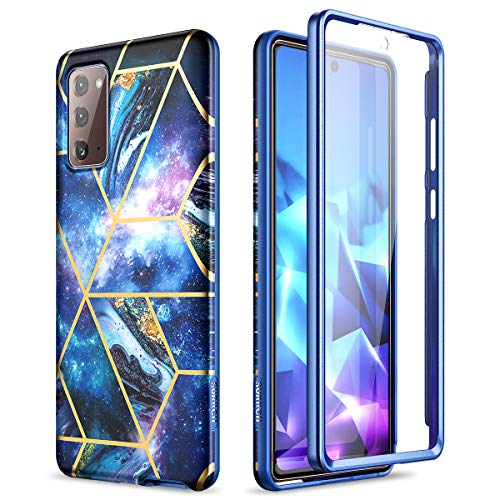 SURITCH for Samsung Galaxy Note 20 Marble Case, [Built-in Screen Protector] Natural Marble Full-Body Protection Shockproof Rugged Bumper Protective Cover for Galaxy Note 20 5G 6.7 Inch (Space Blue)