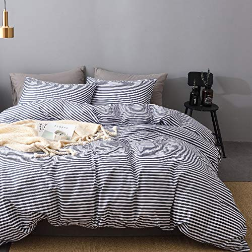 JELLYMONI 100% Natural Cotton 3pcs Striped Duvet Cover Sets,White Duvet Cover with Navy Blue Stripes Pattern Printed Comforter Cover,with Zipper Closure & Corner Ties(Queen Size)