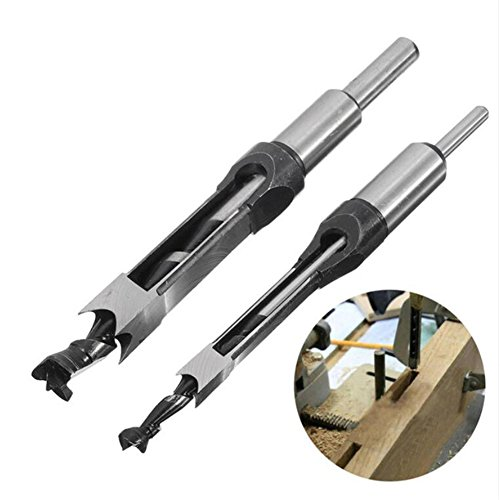 Valink Bohraufsatz-Set, 2-teilig, 10 mm und 16 mm, Vierkant-Lochbeitel, rechteckige Fräsaufsätze aus Hochleistungsschnittstahl, Bohraufsätze für Holzarbeiten