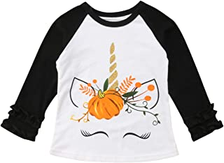 Christmas Costumes Toddler Baby Kids Girl Thanksgiving Pumpkin Print Long Sleeve Cotton T-Shirt Top
