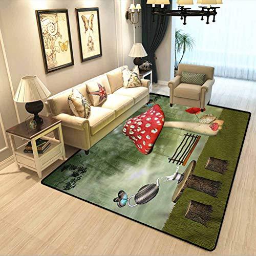 Mushroom Soft Bedroom Rugs Picnic in Fantasy Garden Children Education Learning Carpet W6 x L7 Feet