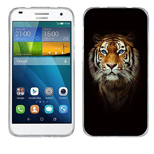FUBAODA für Huawei Ascend G7 Hülle, [Tigerkopf] Kratzfeste Plating TPU Hülle für Huawei Ascend G7 Hülle Schutzhülle Silikon Crystal Hülle Durchsichtig für Huawei Ascend G7