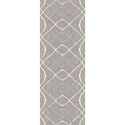 "RUGGABLE Amara Grey Washable Indoor/Outdoor Stain Resistant 2.5'x7' (30""x84"") Runner Rug 2pc Set (Cover and Pad)"