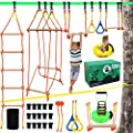 """X XBEN Ninja Obstacle Course for Kids, Slackline Kit 50' with 8 Accessories - Monkey Bars, Gymnastics Rings, 68"""" Rope Ladder, Bridge Obstacle - Ninja Line Training Equipment for Backyard Outdoor"""