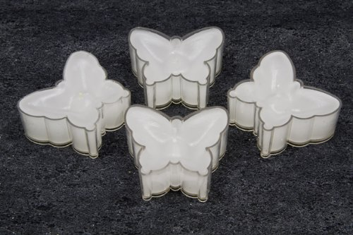 Bougies à chauffe-plat en forme de papillon blanc - 4 pièces par unité de vente