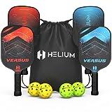 Helium Versus 4-Pack Pickleball Bundle - Honeycomb Core, Graphite Strike Face, Premium Comfort Grip - Set of Four Paddles, 2 Green Indoor Balls, 2 Yellow Outdoor Balls & Drawstring Bag