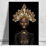 Pintura al óleo abstracta de mujer negra africana con corona dorada, carteles e impresiones en lienzo, imágenes murales de sala de estar nórdica 60x90 CM (sin marco)