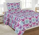 Fancy Linen Collection Full Size 4 Pc Sheet set Butterfly Purple Blue/Turquoise new