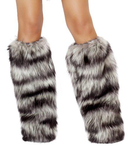 Roma Costume Women's Faux Fur Leg Warmer, Gray/Black, One Size