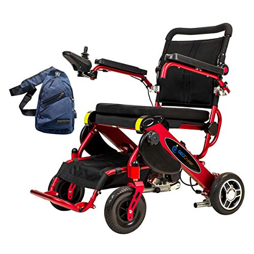 """Geo Cruiser DX Lightweight Folding Electric Wheelchair Motorized Power Compact Mobility Scooter Chair Airplane Approved Weighs Only 56 lbs with Battery - Seat Size 17"""" X 15"""" Red (Bag Included) Electric Wheelchairs"""