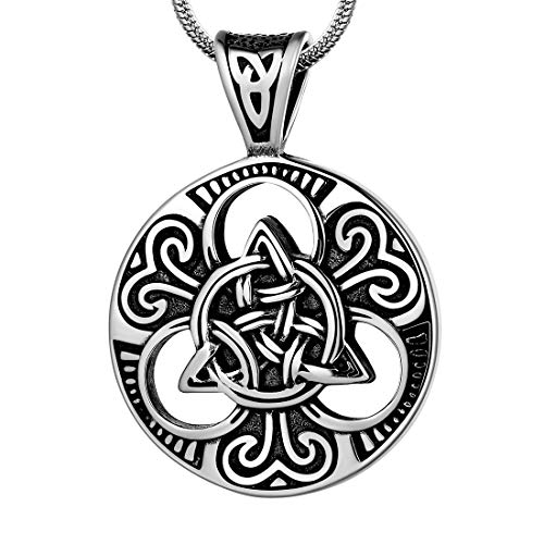 Round Celtic Knot Necklce Big Mens 316L Stainless Steel Viking Pendant Amulet Protection Lucky Irish Jewelry SP0048G