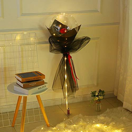 ISAKEN Ramo De Rosas con Globos Luminosos LED, Bola Bobo, Transparente luz Globos para Boda Cumpleaños Navidad Fiesta Decoración del hogar