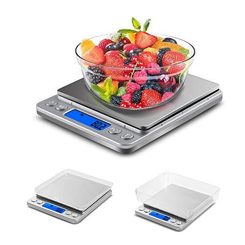 VADIV Báscula Digital para Cocina de Acero Inoxidable,0.1g/3kg Balanza Cocina Alta Precisión,Balanza Alimentos Basculas para Comida(No Incluye Batería)