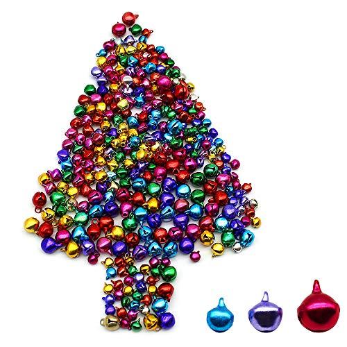 Dylan-EU 500 stück Bunte Glocken Kleine Glocken zum Basteln Jingle Bells Mini-Glöckchen Weihnachtsschmuck DIY Schmuck 10mm / 8mm / 6mm