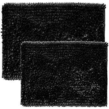 Sweet Home Collection Chenille Noodle 2 Piece Bathroom Rug Set, Black