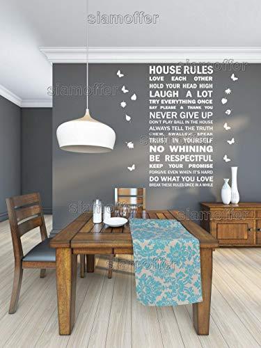Huisregels Quote Muursticker Decal met Bladeren & Vlinders 11 Kleur Selecties - Gemaakt om te bestellen - Maat 63x112cm. Afmetingen (L x B x H):