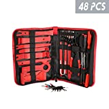 HOUSE DAY Car Trim Removal Tool Set 48Pcs Trim Puller Tool Kit Auto Door Audio Radio Panel Repair Modification Removal Tool Fastener Remover Pry Tool Set Auto Clip Pliers with Storage Bag