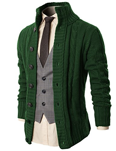 H2H Mens Stand Neck Twisted Knit Button Closure Cardigan Premium Sweater Green US XL/Asia XXL (KMOCAL020)