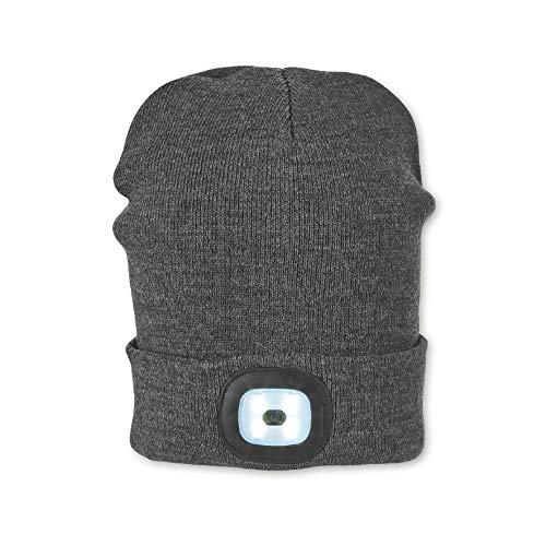 Sterntaler Mütze für Jungen mit Leuchtfunktion, Gefüttert, Alter: ab 4 Jahren, Größe: 55/57, Grau (Anthrazit Melange)