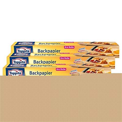 Toppits Backpapier 8m Rolle 38cm breit Antihaft-StStruktur (3er Pack)