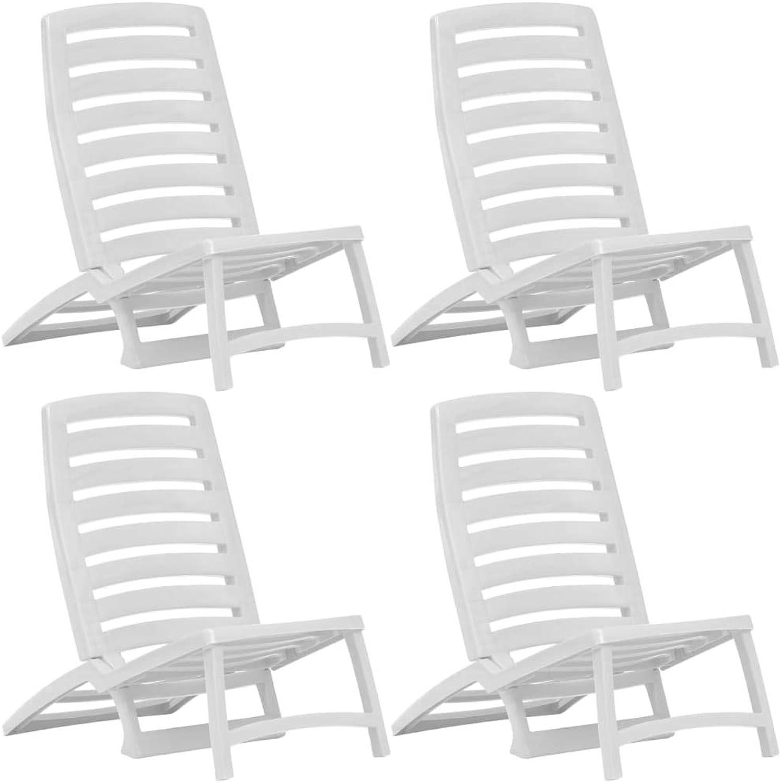 oferta especial VidaXL VidaXL VidaXL 4X Sillas de Playa Plegables Plástico blancoas Accesorios Playa Piscina  mejor servicio