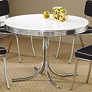 BOWERY HILL Round Dining Table in White and Chrome