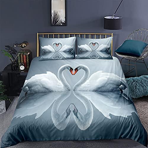 BOLAT Funda de edredón con diseño de cisne de alta definición, estampado en 3D, microfibra y funda de edredón para cama doble, apto para regalos de pareja (A,King220 x 240 cm)
