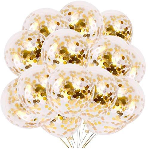 YMSZ Luftballons Gold Helium, 50 Stück 30cm Konfetti Ballon Latex Party Ballons für Hochzeit Verlobungsfeier Geburtstag Dekorationen