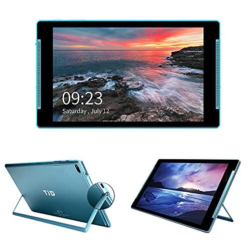 TJD MT-1011 - Tablet de 10 pulgadas con soporte, Android 10, procesador de cuatro núcleos, cámara trasera de 5 MP, memoria RAM de 2 GB, 32 GB ROM, batería de 6000 mAh, Bluetooth 4.0, Wi-Fi (azul)