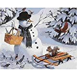 Pintura al óleo de Bricolaje,Pintura por números,Animal de muñeco de nieve Pintar por Numeros Adultos Niñost Principiantes, para hogar decoración de casa (sin marco) 40 x 50 cm