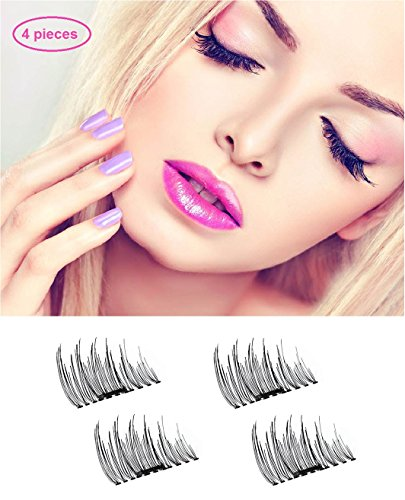 Potou Magnetic False Eyelashes, 1 Pair 4 Pieces Ultra-thin 0.2mm Magnetic Eye Lashes 3D Reusable Magnet Eyelashes Extension