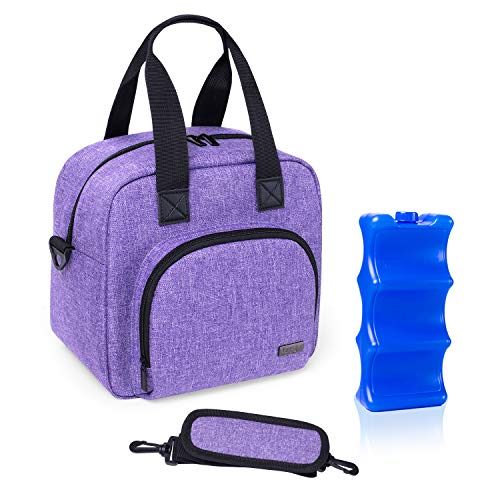 Luxja Breastmilk Cooler Bag with an Ice Pack (Hold 6 Breastmilk Bottles, 5-9 Ounces), Leakproof Cooler Bag for Breast Milk and Bottle Set, Purple
