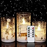 """Eldnacele Snowman Glass Flameless Candles with Remote Timer Battery Operated Flickering LED Pillar Candles 3 Pack Warm White Light Christmas Decal Candles Set of 3 (D3"""" x H 4"""" 5"""" 6"""") – Snowman"""