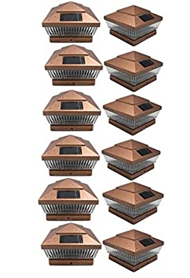 12 Pack 6x6 Outdoor Garden Solar LED Copper (Color) Post Cap Fence Pathway Landscape Deck Square Light Lights