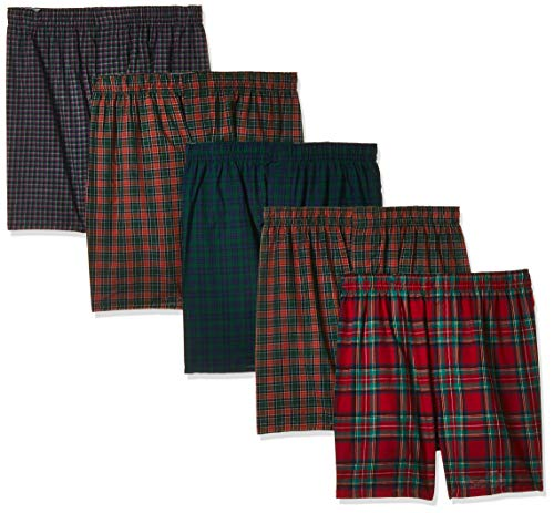 Hanes Men's 5-Pack Tartan Boxer with Inside Exposed Waistband, Multi, Small