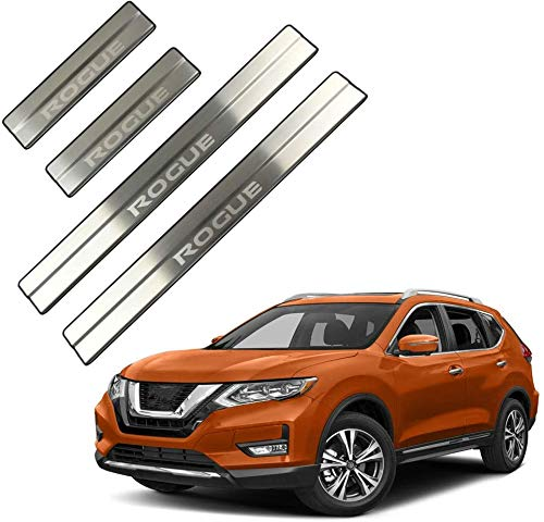 MISSLYY 4pcs Door Sill Kick Plates For Nissan Rogue 2014 2015 2016 2017 2018 2019, Car Stainless Steel Non-Slip Scuff Guard Cover Welcome Pedal Protection Accessories