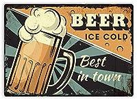町で最高のビール 金属板ブリキ看板警告サイン注意サイン表示パネル情報サイン金属安全サイン