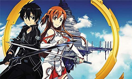 Wandaufkleber Sword Art Online Anime Xl Übergroße Wasserdichte Poster-Wandaufkleber - 100 X 60 Cm (36 X 24 Zoll) Leicht Zu Klebende Pads Mit Selbstklebender Folie, M