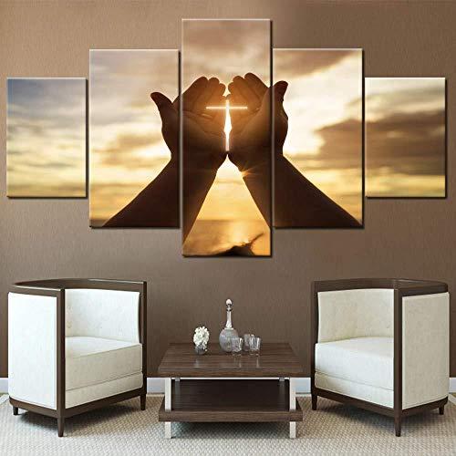 Cruces de pared Decoración manos Oración Pinturas Arte de la pared para Sala de estar Imágenes Cristianas 5 piezas Lienzo Moderno Decoración del Hogar+Cruz Decoración Mano Patrón de oración