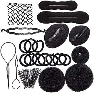 XCHAI Donut Bun Maker,Hair DIY Tool Kit Donut Bun Maker U-shaped Clip Spiral Clip Hair Bands Hair Base Bumps Hair Loops Bu...