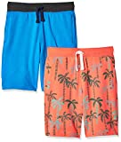 Amazon Brand - Spotted Zebra Boys' Kid 2-Pack French Terry Knit Shorts, Palm Trees/Blue, Medium (8)