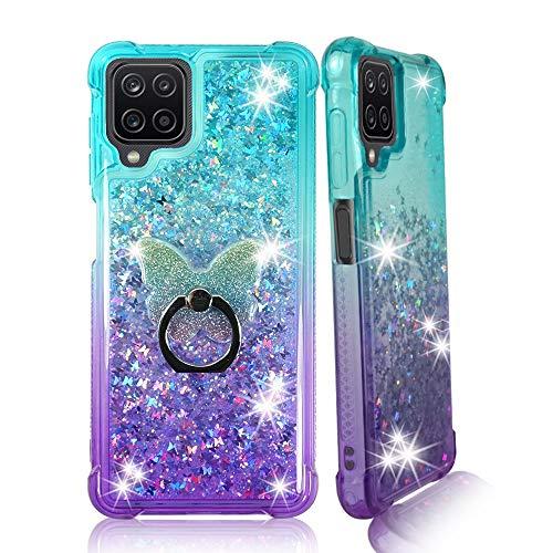 ZASE Samsung Galaxy A12 Liquid Glitter Sparkle Bling Clear Case Women Girls Compatible w/Galaxy A12 6.5 inch 2021 Floating 3D Butterflies Waterfall w/Phone Ring Holder (Gradient Aqua Purple)