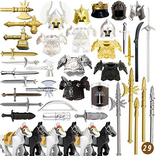 ColiCor 49St. Set de Armas Personalizadas para Caballeros y Soldados Medievales de la policía Minifiguras del Equipo SWAT , Coinciden con el Lego