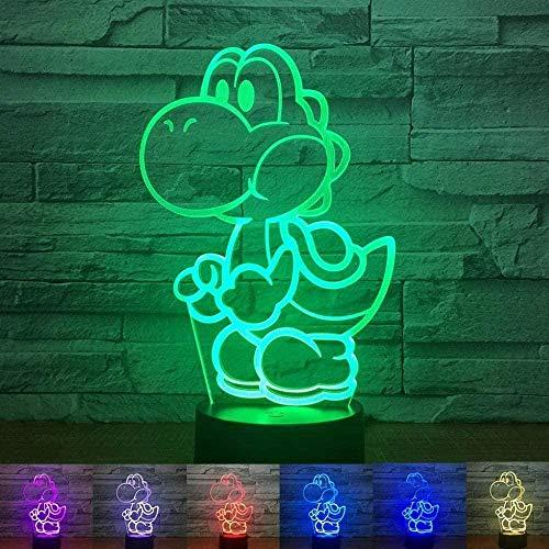 FFVVE Lámpara LED de ilusión 3D, lámpara de noche con diseño de huevo de Mario Yoshi para niños, decoración de jardín de infancia, alimentada por USB, lámpara de mesa fría para bebés