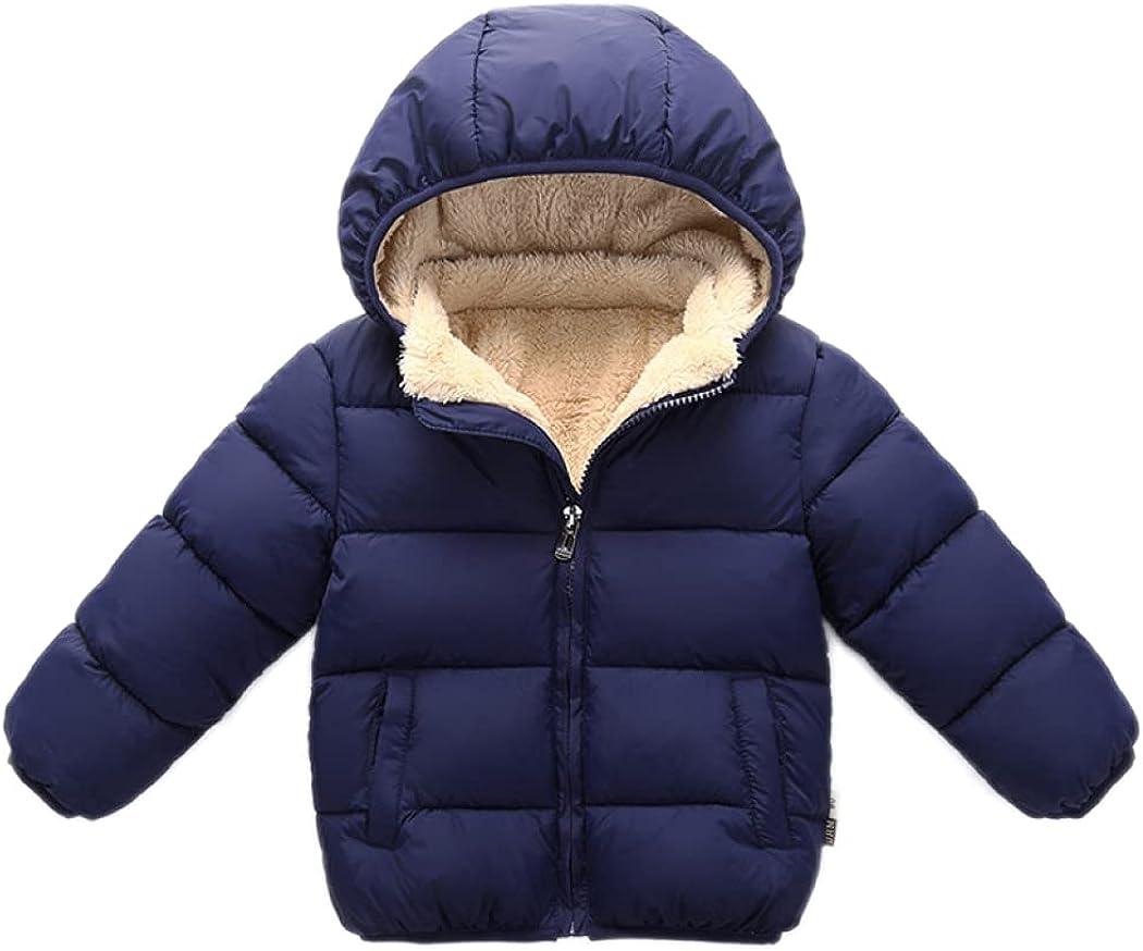 Yvinak Toddler Boys Girls Lightweight Winter Down Jackets Coat Little Kids Fleece Lined Warm Hood Jacket Outwear Waterproof
