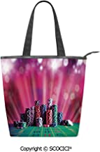 SCOCICI Canvas Tote Bag Stack of Gambling Chips Success Wealth Winner Lucky Betting Women Casual Shoulder Bag Handbag