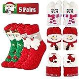 5 pares de calcetines de Navidad para mujer, de forro polar coral, gruesos, cálidos, con patrón de muñeco de nieve, calcetines peludos (adultos)