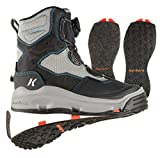 Korkers Darkhorse Women's Wading Boots - A Remastered Classic - Includes Interchangeable Felt & Kling-On Soles (Gray/Blue/Black, 7)